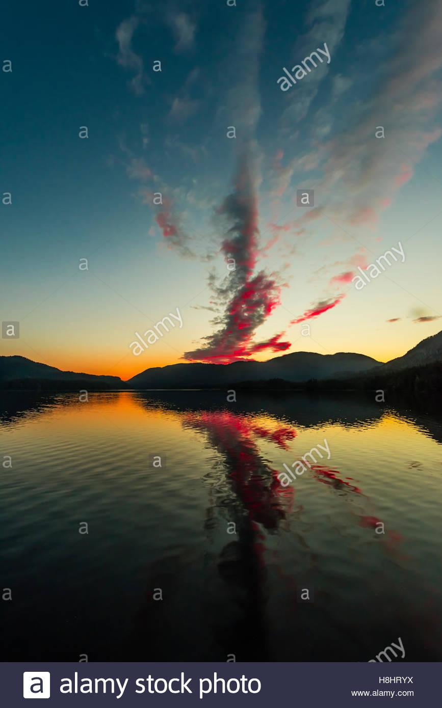 Twilight, Nakwasina Sound,  Inside Passage, Southeast Alaska USA. - Stock Image
