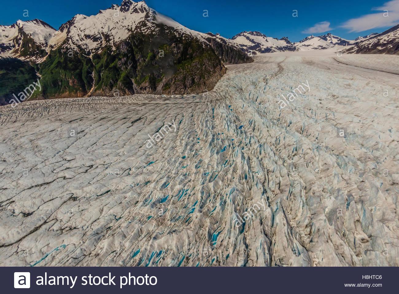 Aerial view of the Mendenhall Glacier, Juneau, Alaska USA. - Stock Image