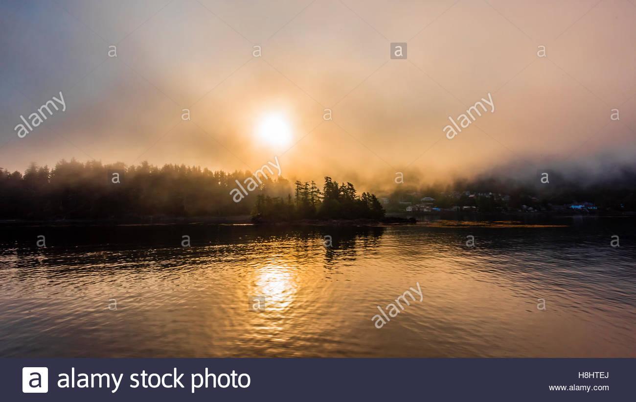 Fog banks, Sitka Sound, Alaska USA. - Stock Image