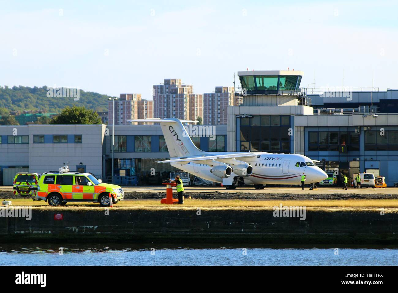 LONDON, UK - SEPTEMBER 11, 2016: An Avro RJ85 by CityJet on the airfield at LCY - Stock Image