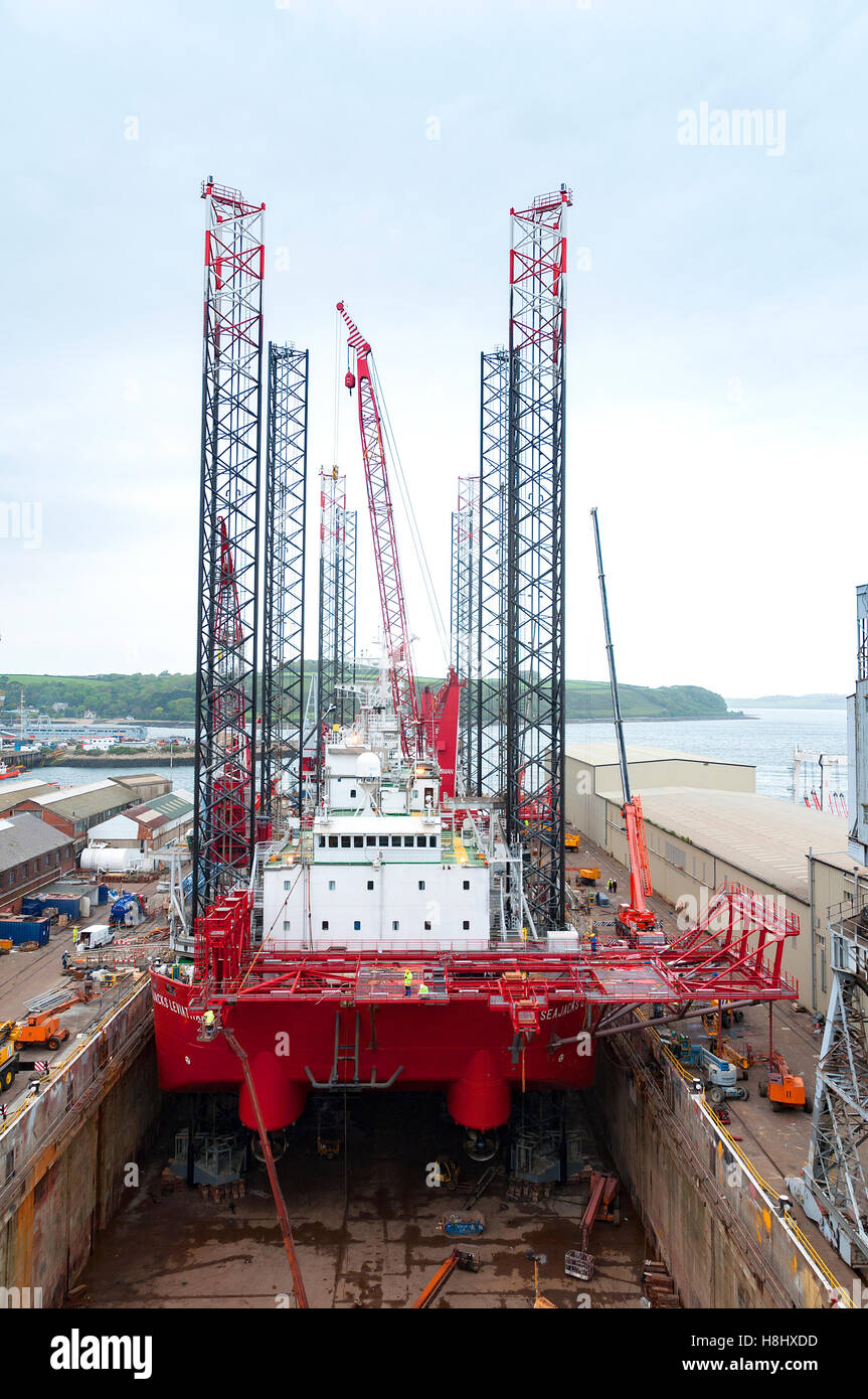 a sea jack in dry dock at Pendennis shipyard, Falmouth, Cornwall, England, UK Stock Photo