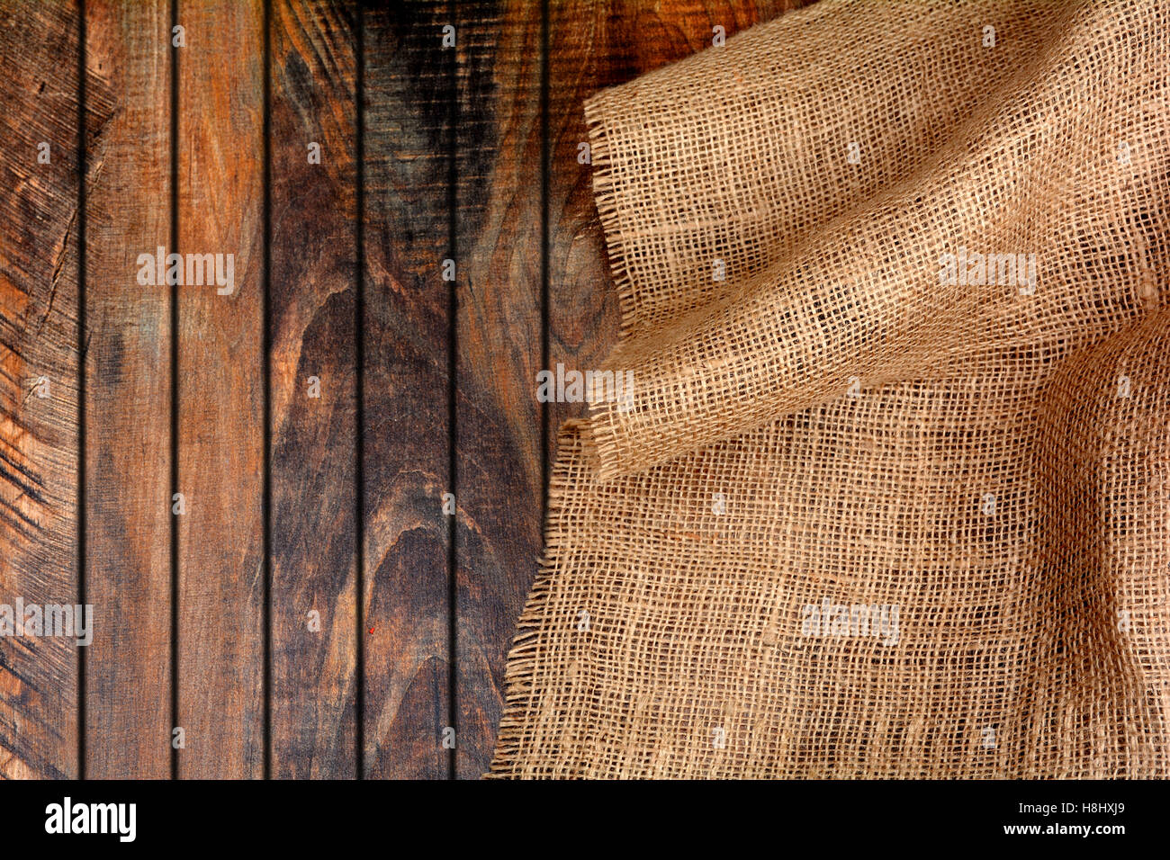 Jute Burlap On Wooden Background Banner Template