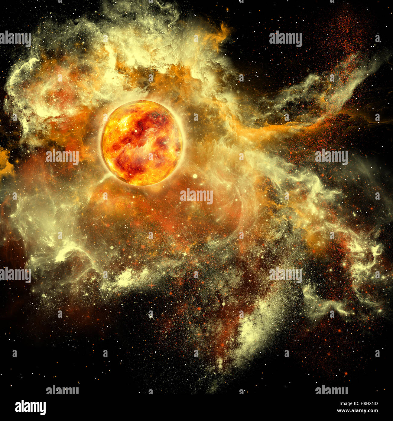 A sun gathers surrounding matter and plasma to become a larger and larger sphere in the universe. - Stock Image