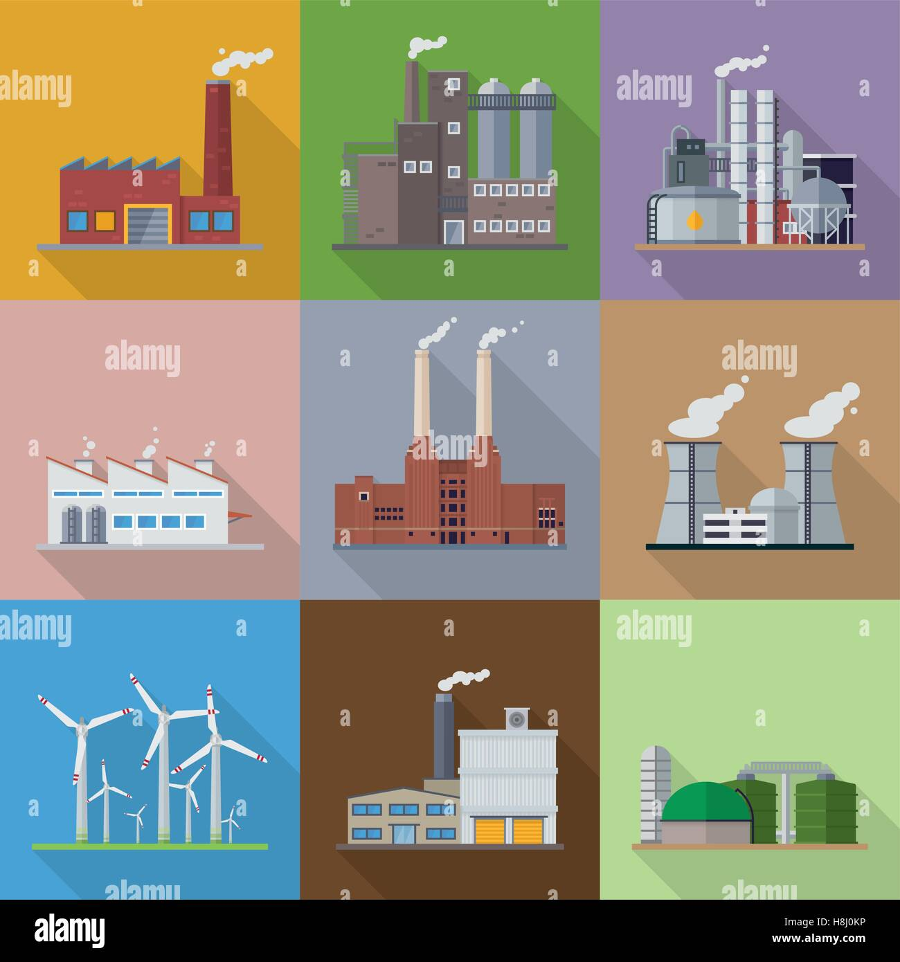 Factory And Power Plant Building Flat Design Long Shadow Vector Stock Vector Image Art Alamy