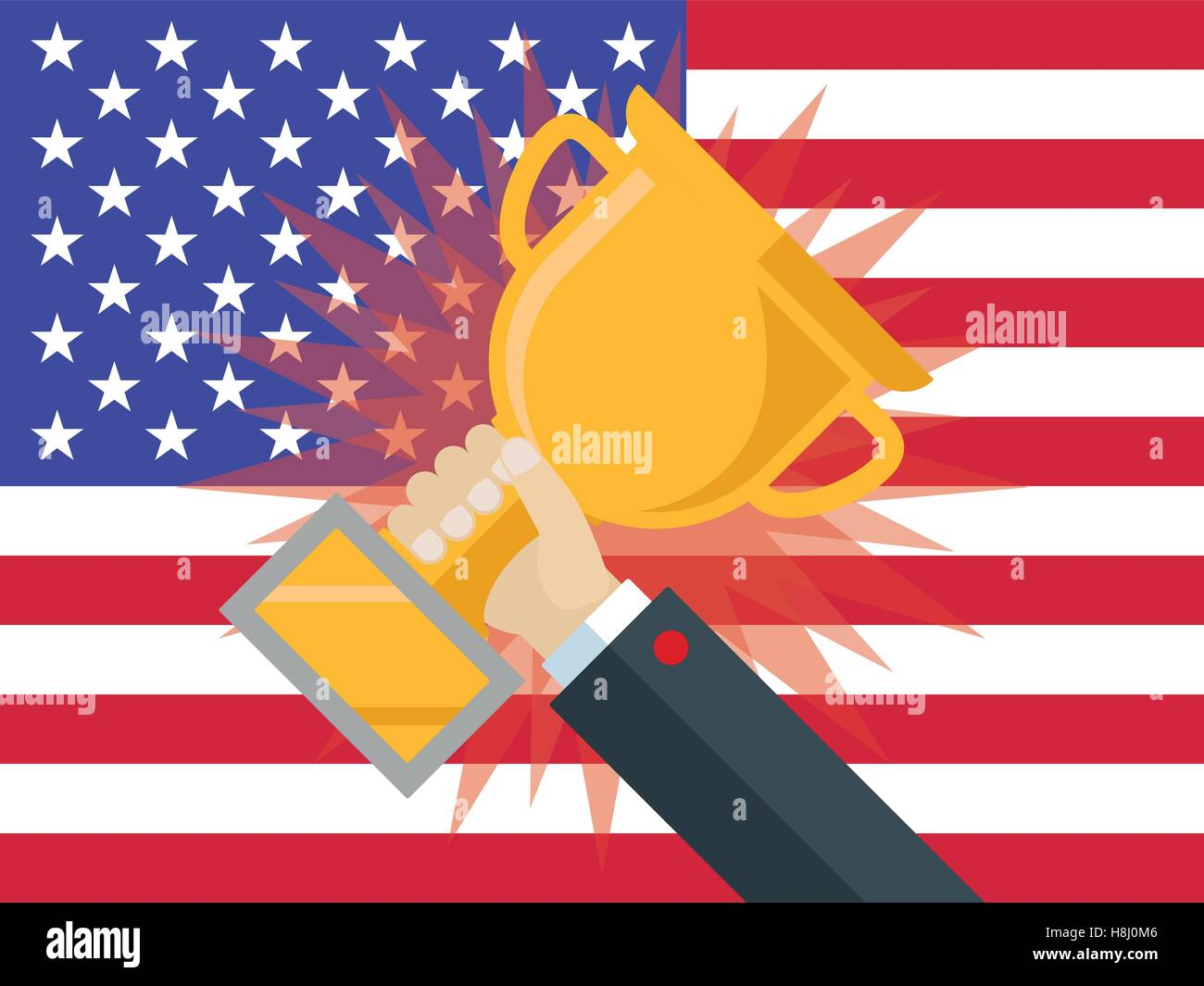 Trump wins US Elections - Hand in business suit holding golden award against United states flag - Stock Image