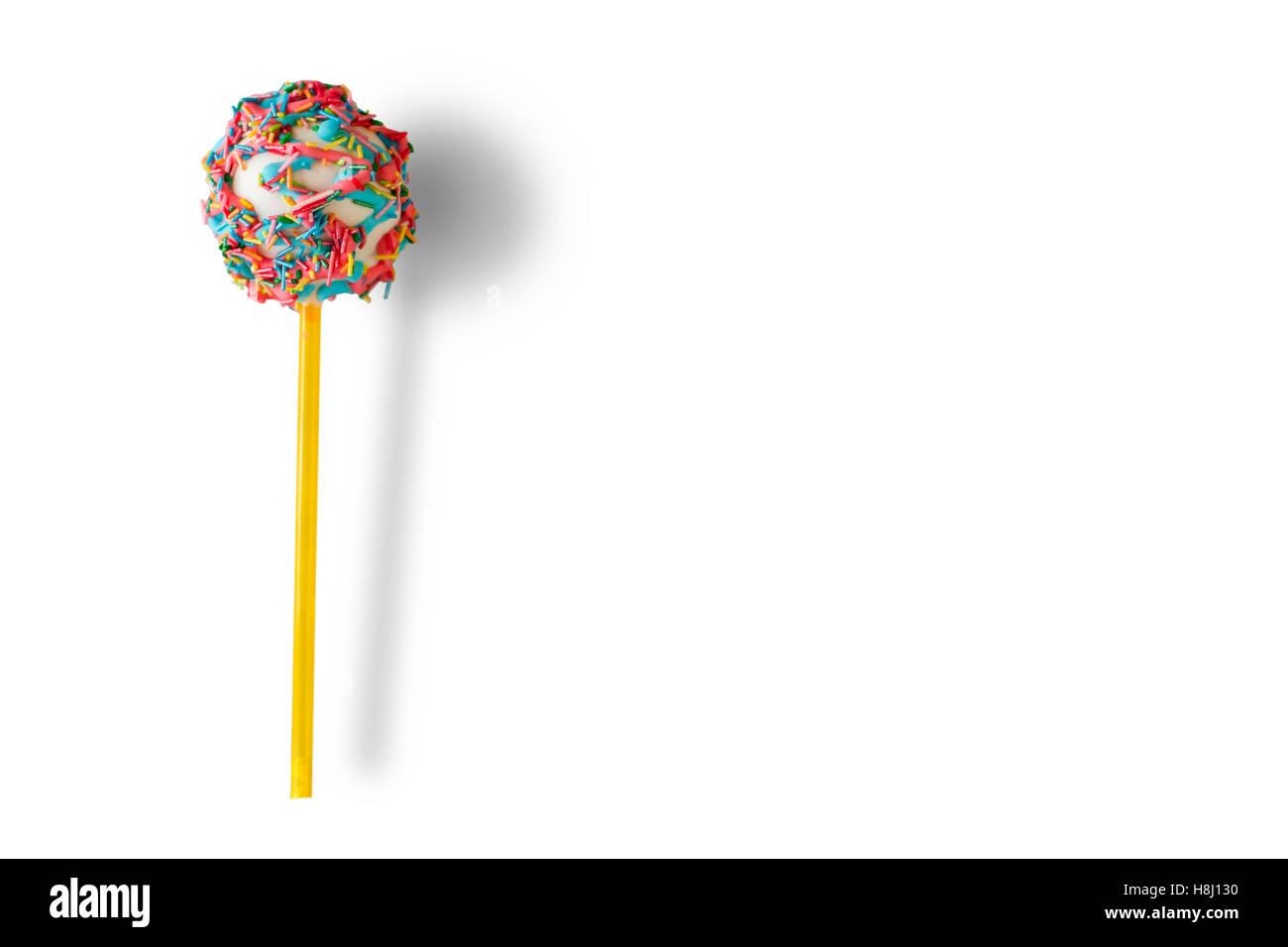 Cake pop with sprinkles. - Stock Image
