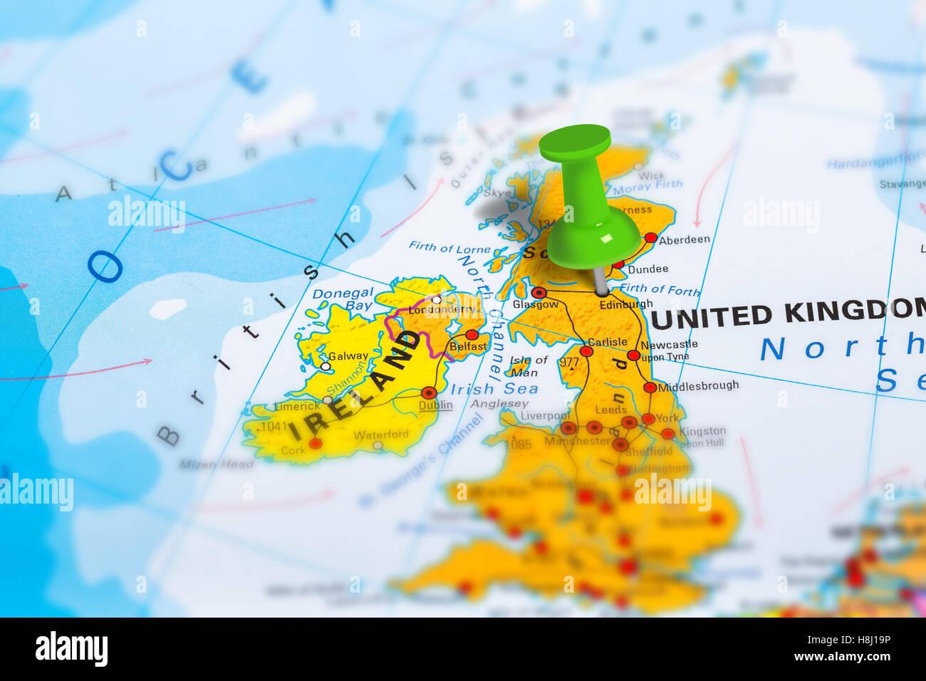 Edinburg Scotland map - Stock Image