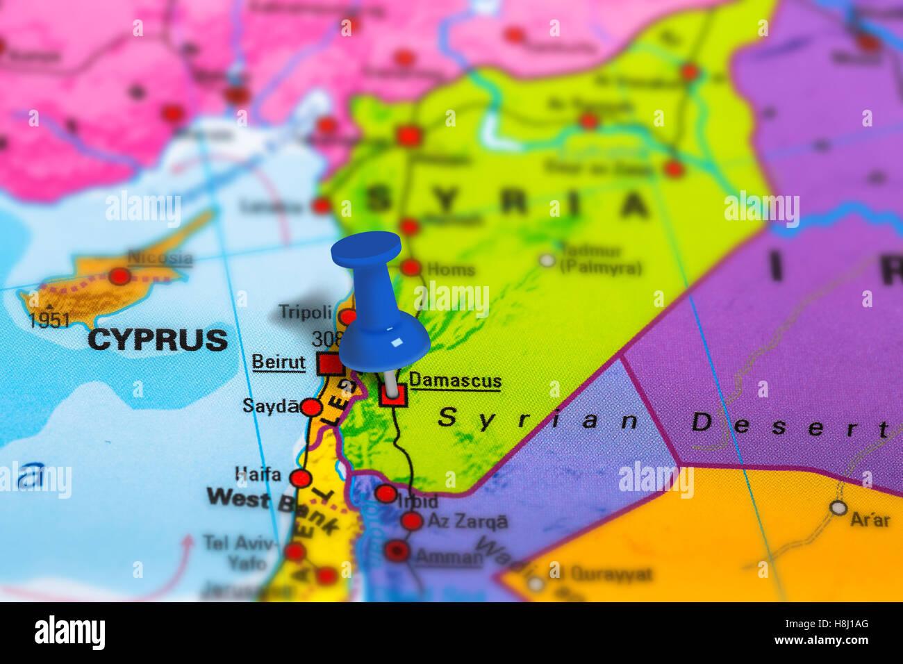 Damascus Syria map Stock Photo: 125786040 - Alamy on libya map, umayyad mosque, medina map, sanaa map, amman map, constantinople map, asma al-assad, belgrade map, bashar al-assad, jordan map, aleppo map, ankara map, sinai peninsula map, syria map, euphrates river map, canaan map, muscat map, tyre map, beirut on a map, mecca map, jerusalem map, iraq map, persia map,