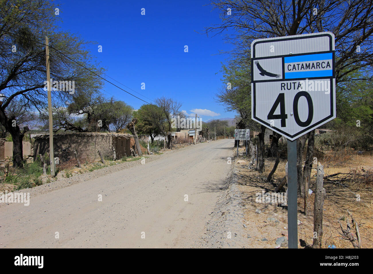 Route 40 with sign, Cafayate, Argentina - Stock Image