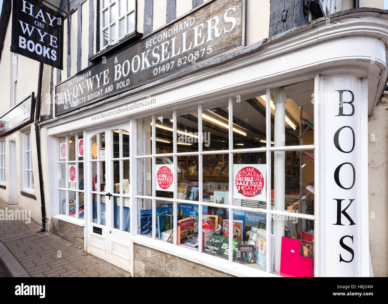 Independent book shop in Hay on Wye, Brecknockshire, Wales, UK - Stock Image