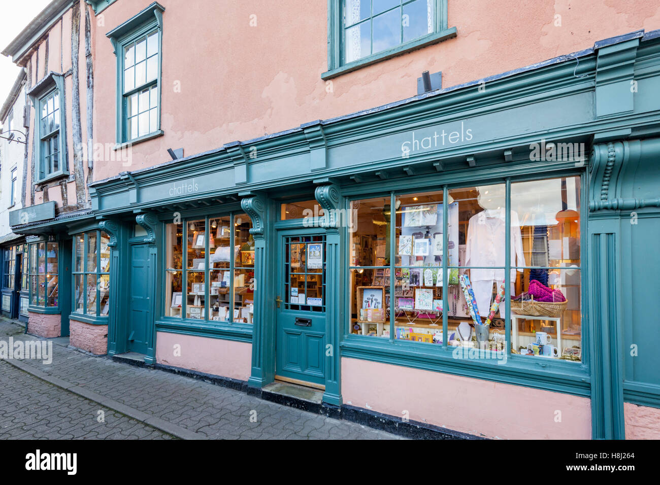 Independent shops in Hay on Wye, Brecknockshire, Wales, UK - Stock Image