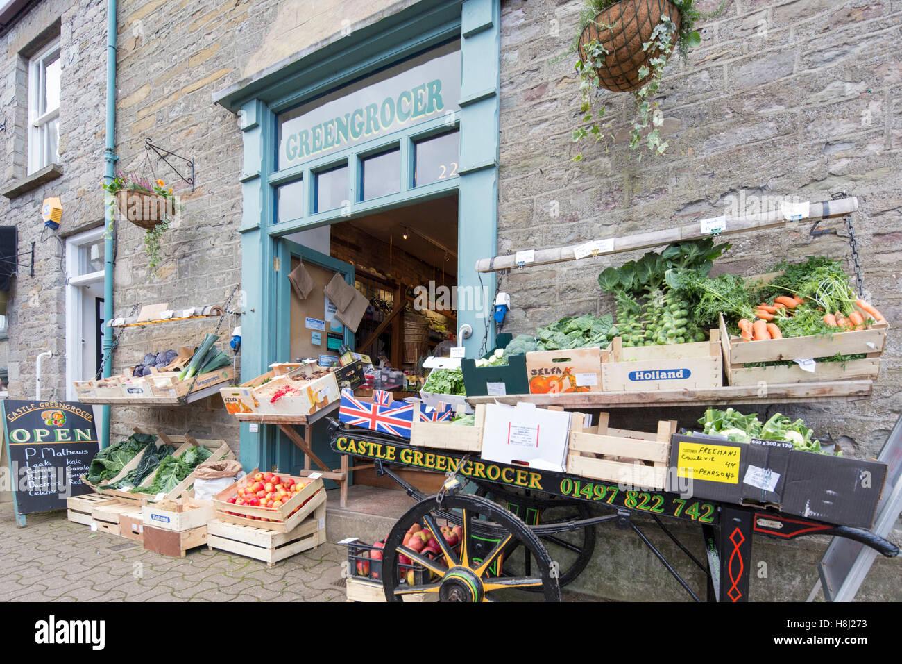 Greengrocer's display outside shop, England, UK - Stock Image