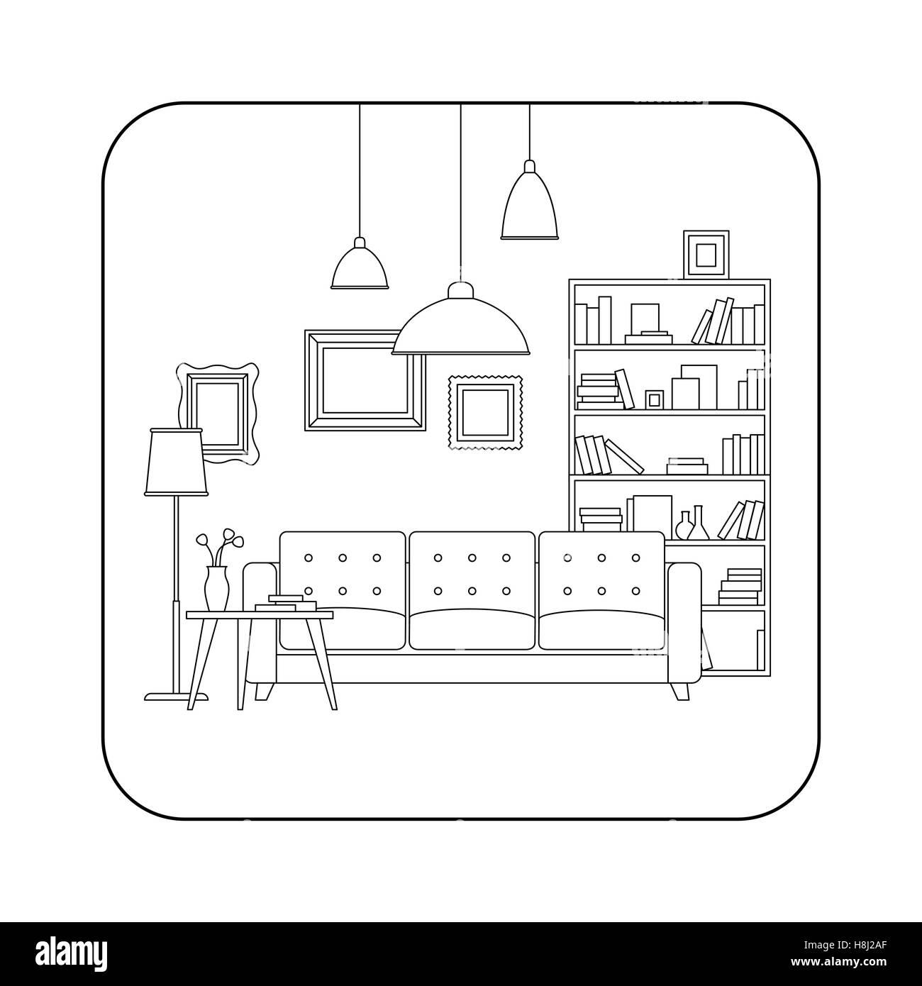 Living room line interior - Stock Vector