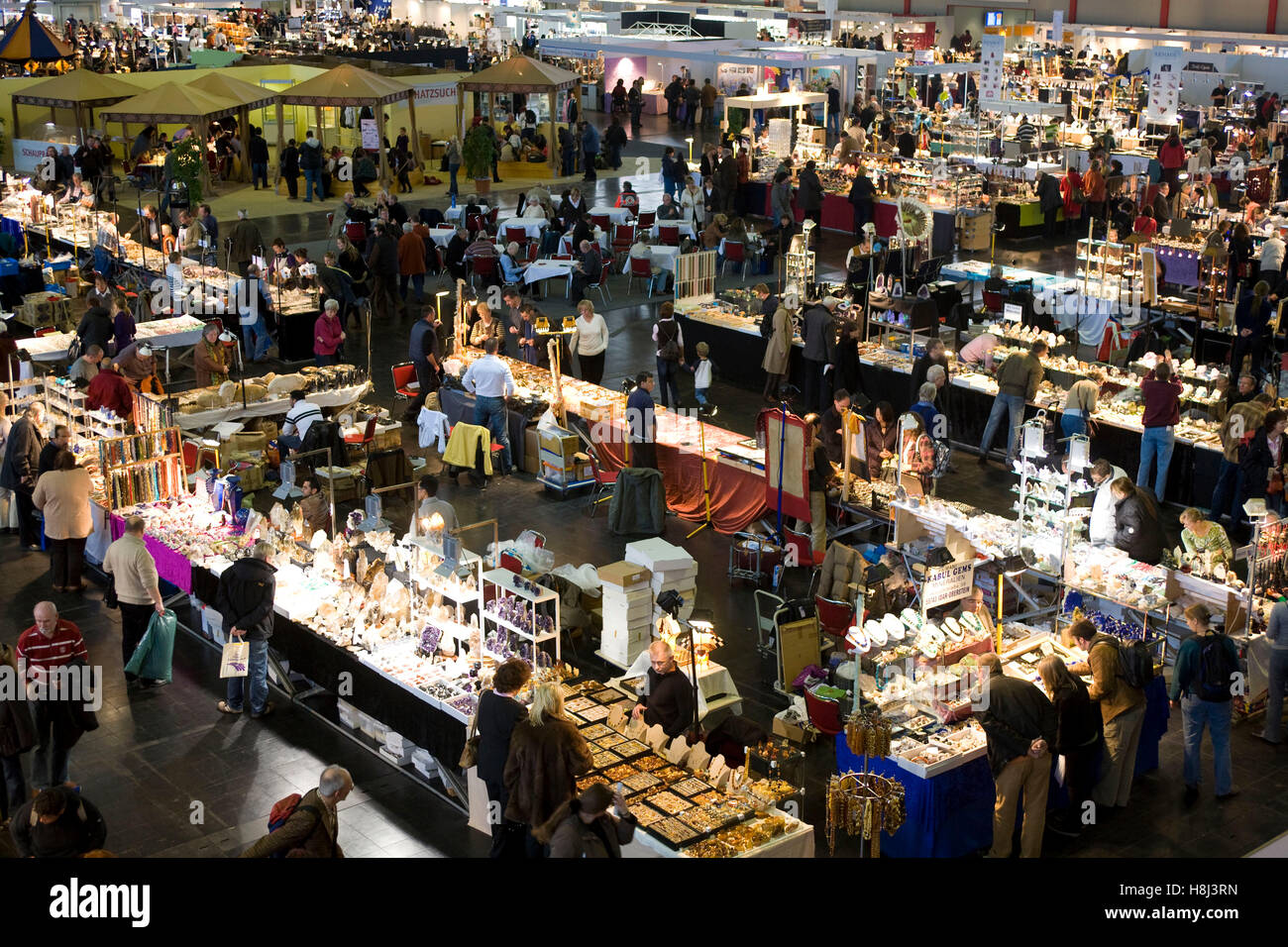 Germany,  Ruhr area, Dortmund, trade fair for  minerals, fossils, gems and jewels at the exhibition center Westfalenhallen. - Stock Image