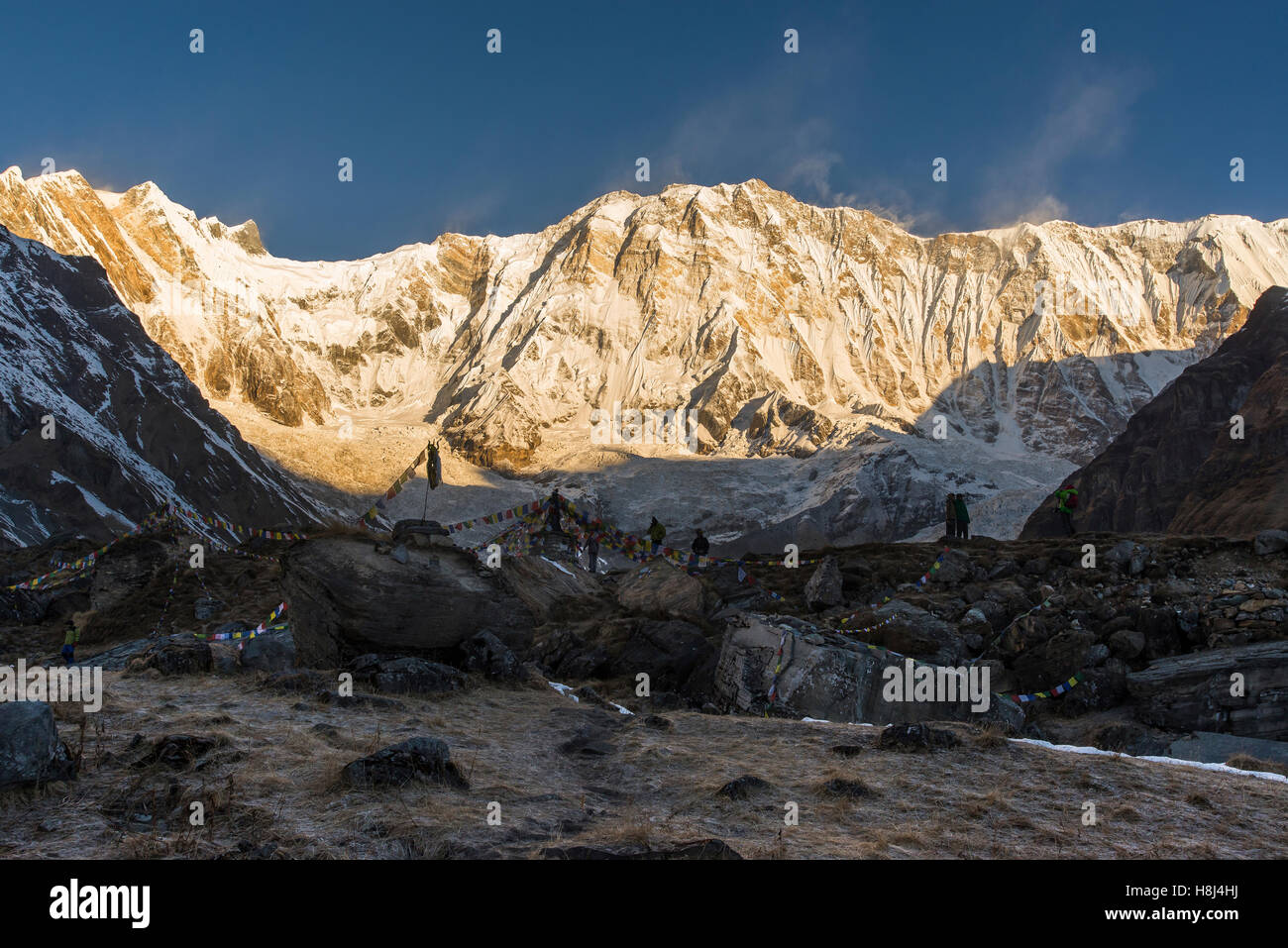 Annapurna at sunrise from Annapurna Base Camp - Stock Image