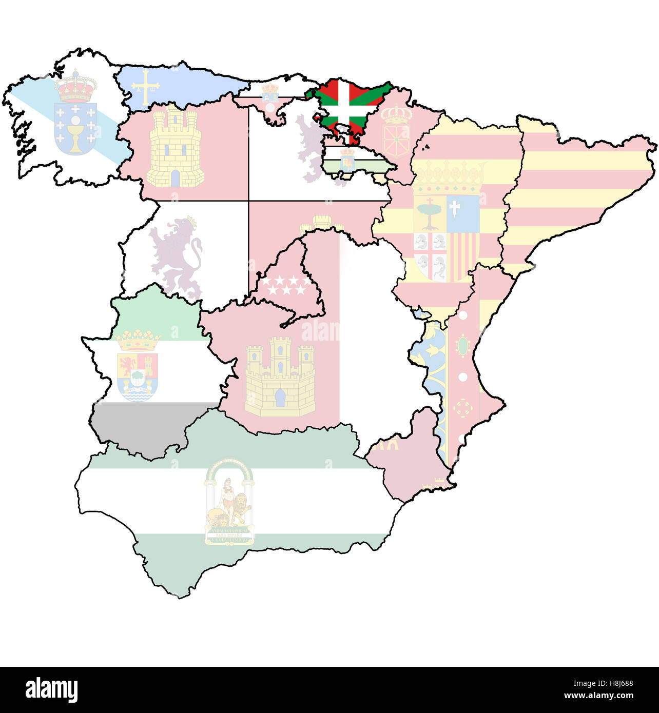 basque country region on administration map of regions of spain with