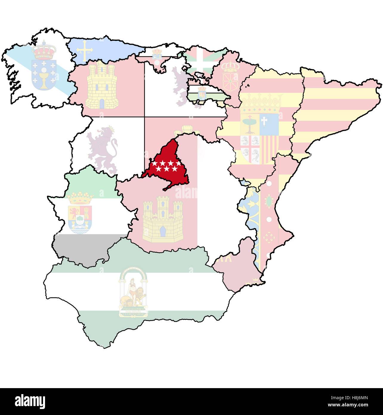 community of madrid region on administration map of regions of spain ...