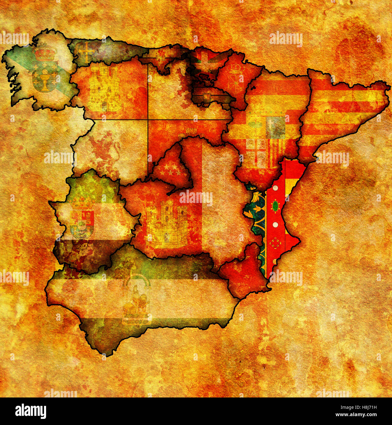 Map Of Spain Valencia Region.Valencia Region On Administration Map Of Regions Of Spain With Flags