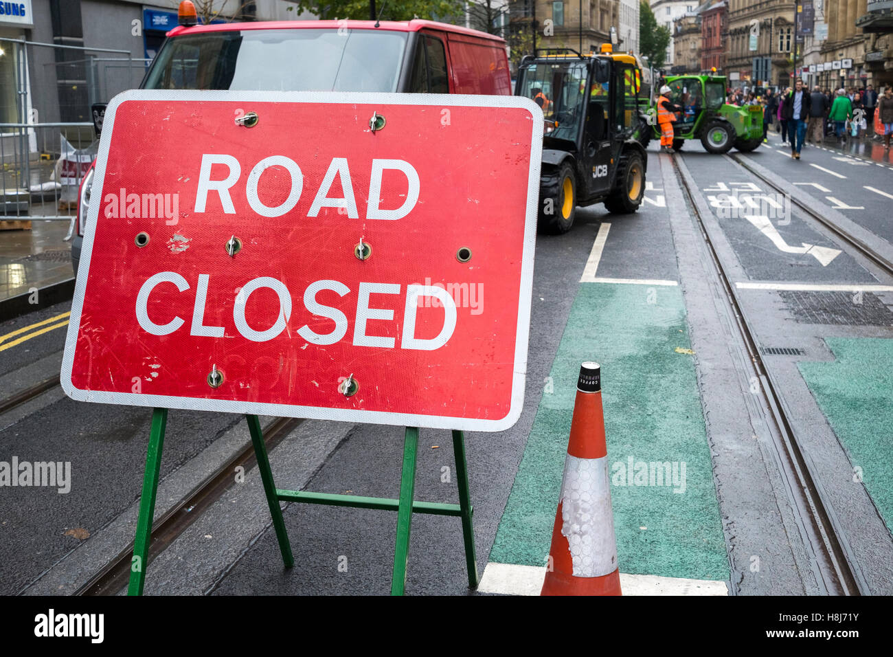 Roadworks signs in Manchester city centre, UK Stock Photo