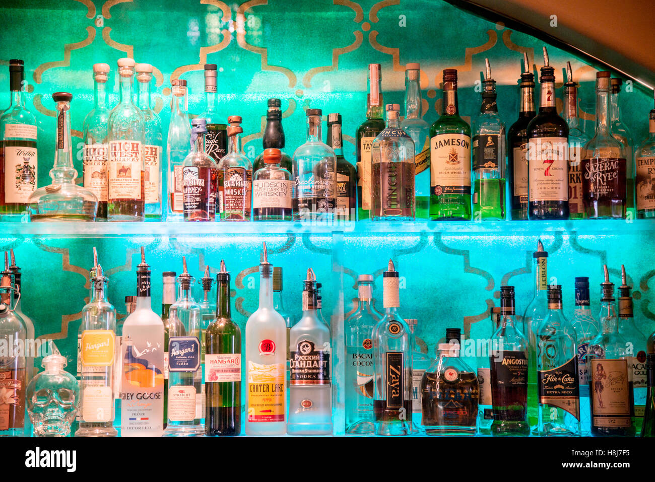 Bar Wall Display of Liquor Bottles Stock Photo: 125790873 - Alamy