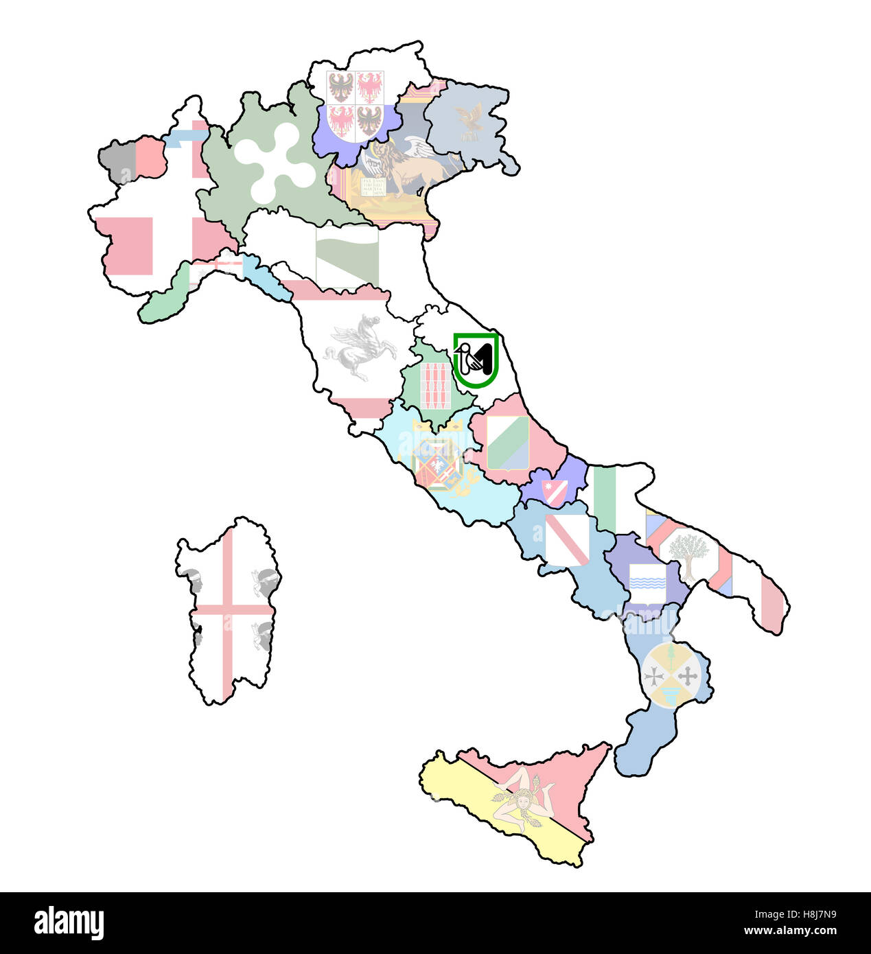 Marche Region Italy Map.Marche Region On Administration Map Of Italy With Flags Stock Photo