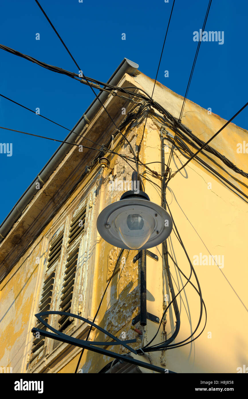 Cable Wires House Stock Photos Images Alamy Old Electrical Wiring Street Lamp And On Image