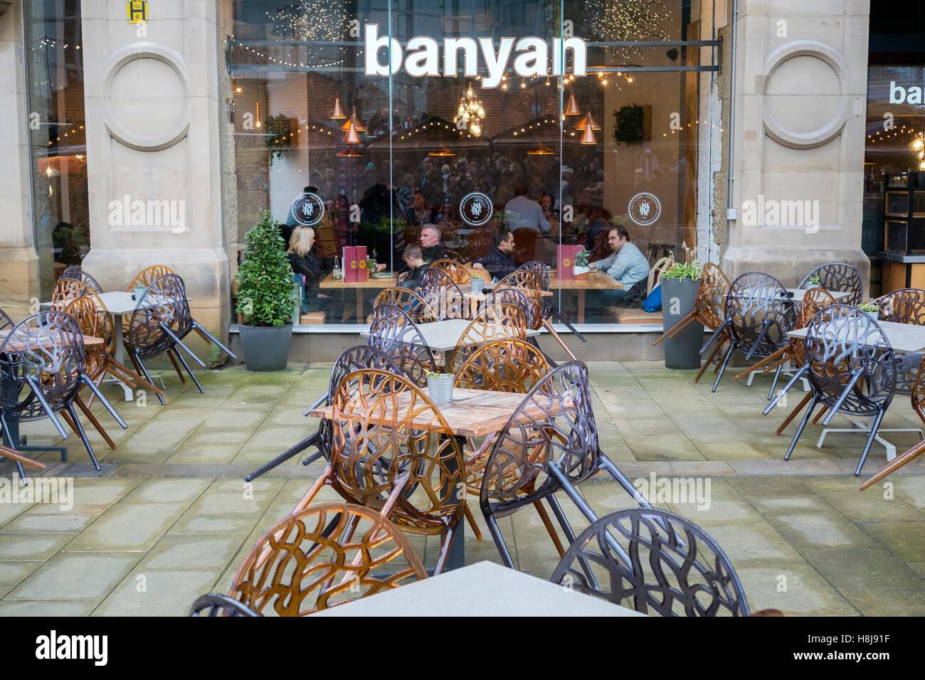 'banyan' restaurant in Manchester city centre, UK. - Stock Image
