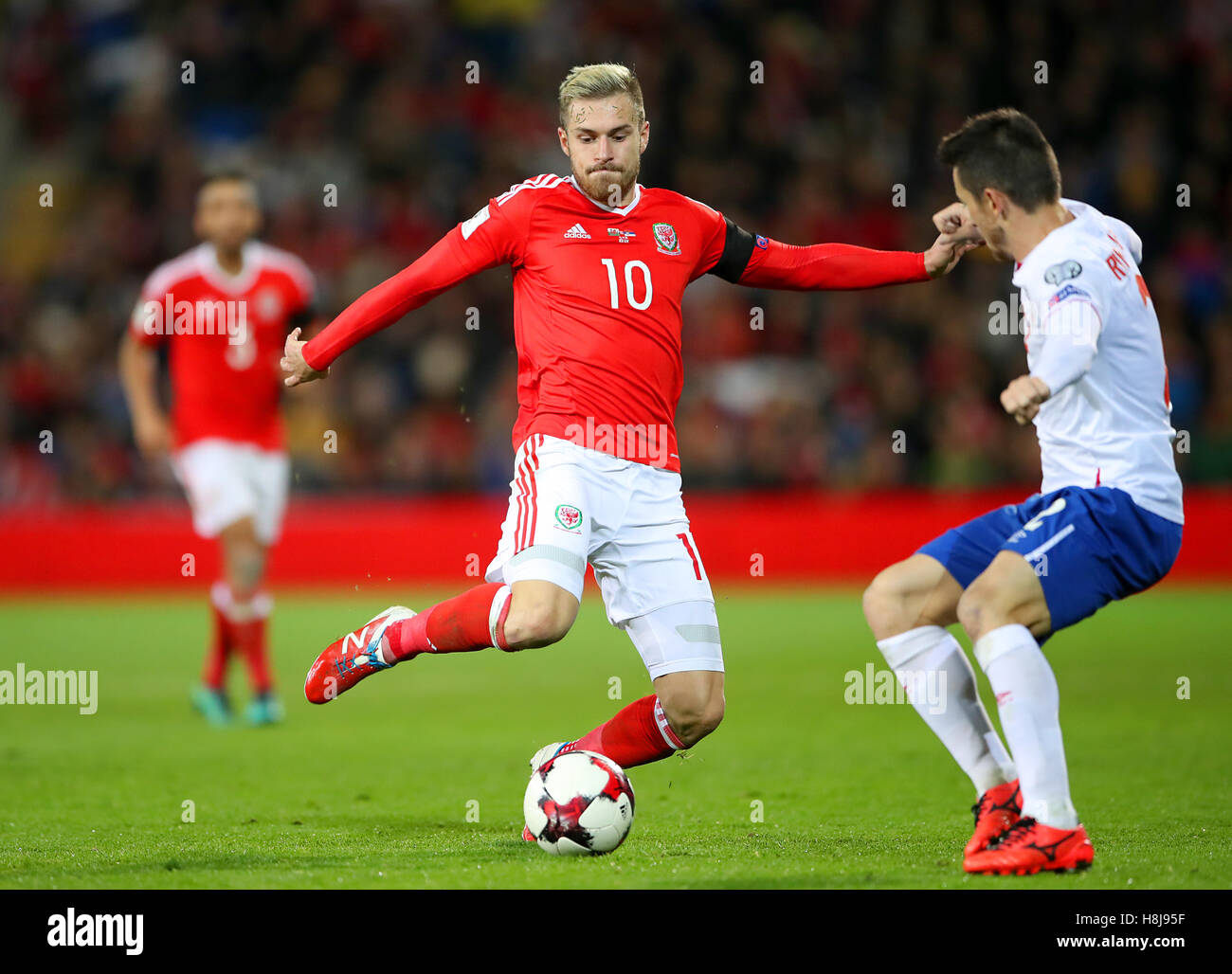 Wales' Aaron Ramsey in action during the 2018 FIFA World Cup Qualifying, Group D match at the Cardiff City Stadium. Stock Photo