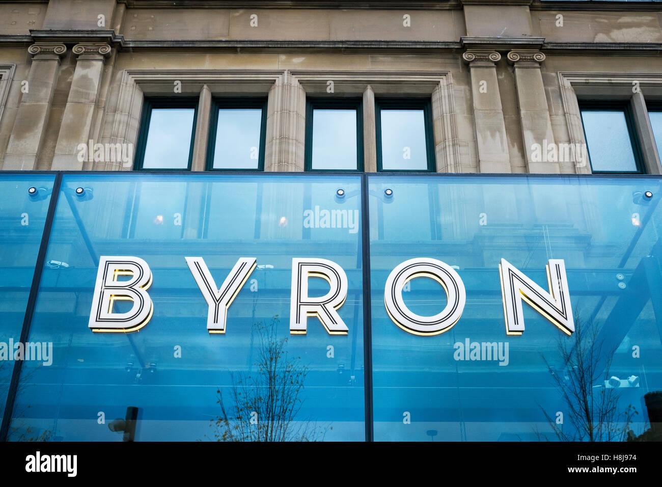 'Byron' burger restaurant in Manchester city centre, UK. - Stock Image