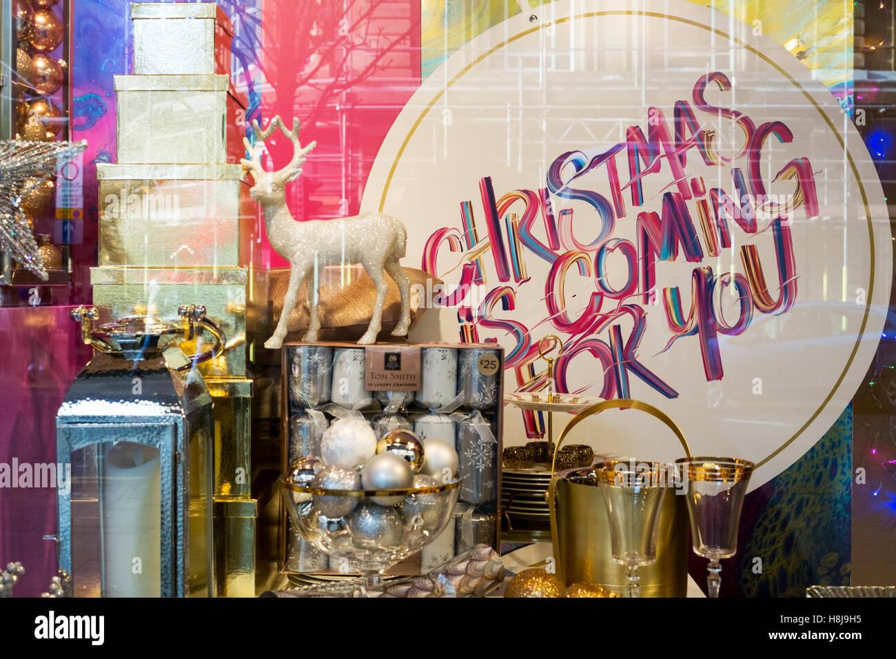 Christmas shop window display, Manchester, UK. - Stock Image