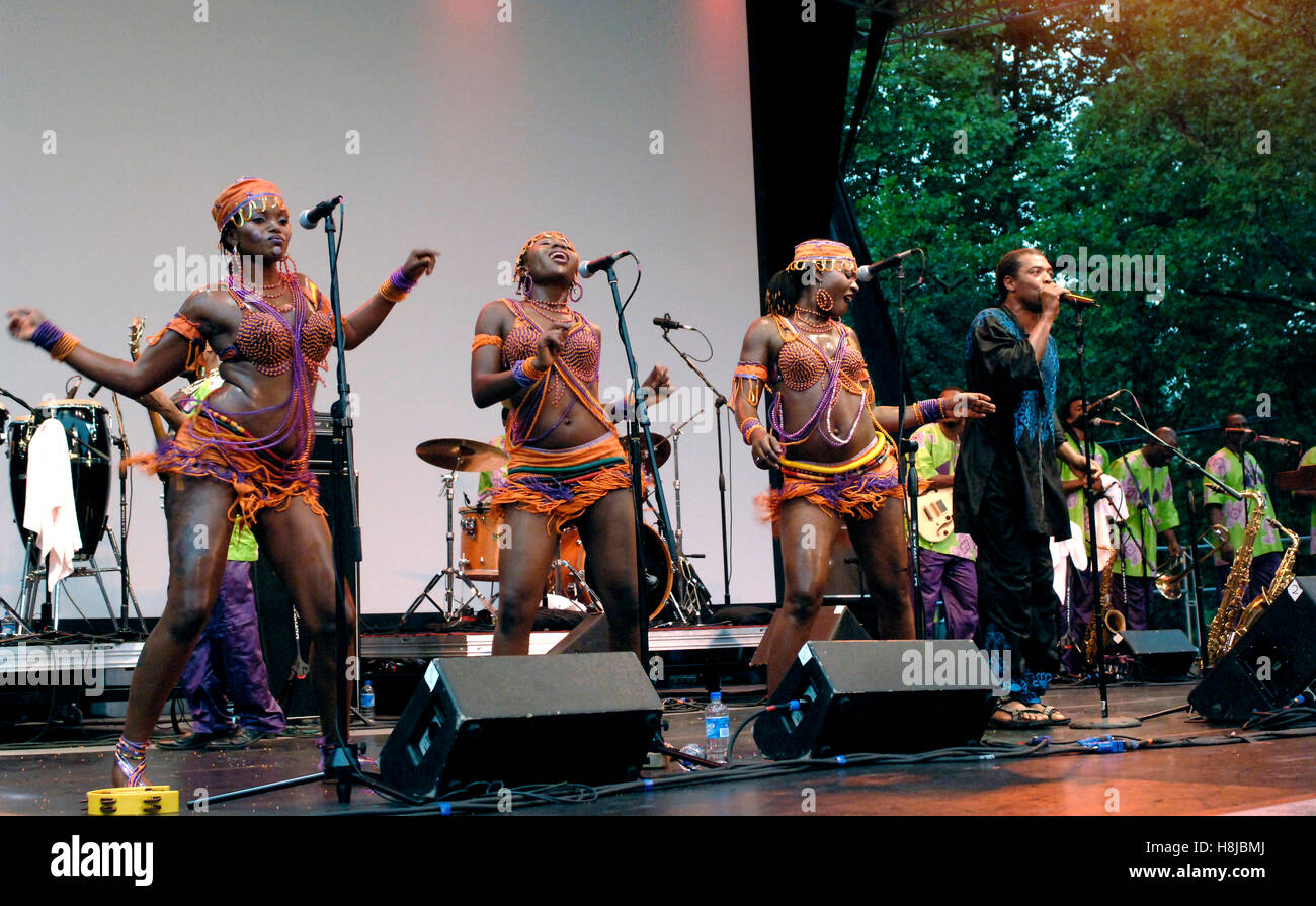 Femi Kuti & The Positive Force performing live at Central Park Summerstage in New York City.  July 11, 2007 - Stock Image