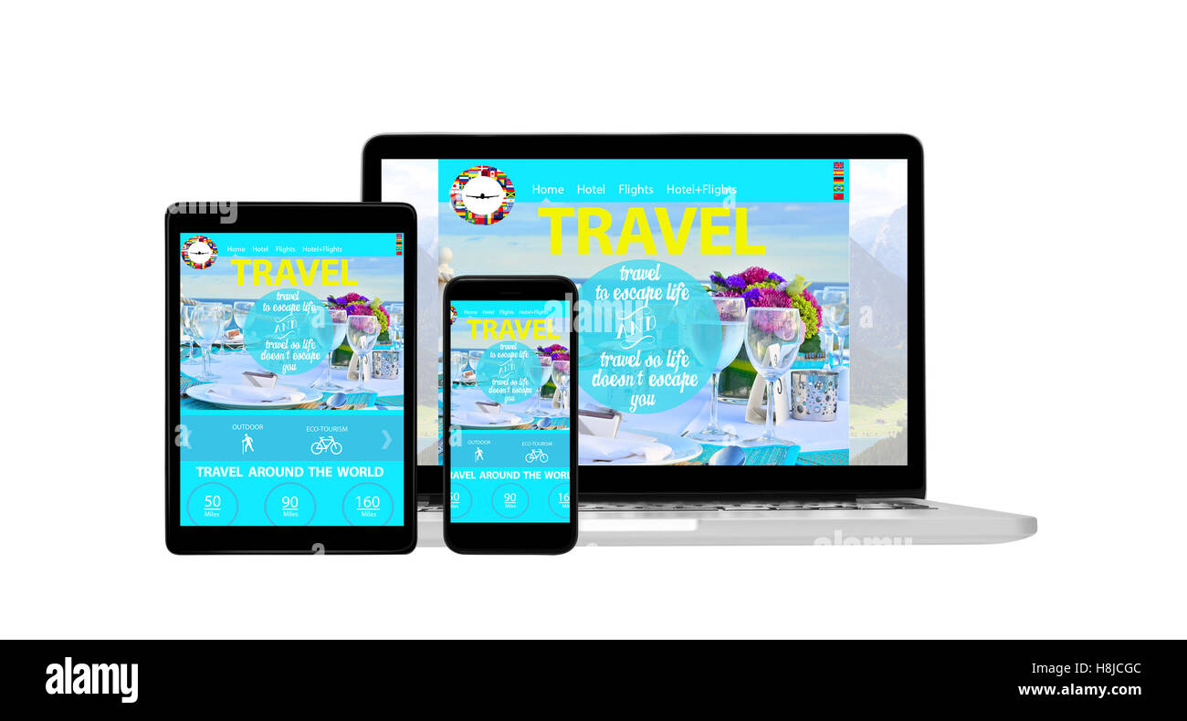 Device with travel agency website open - Stock Image