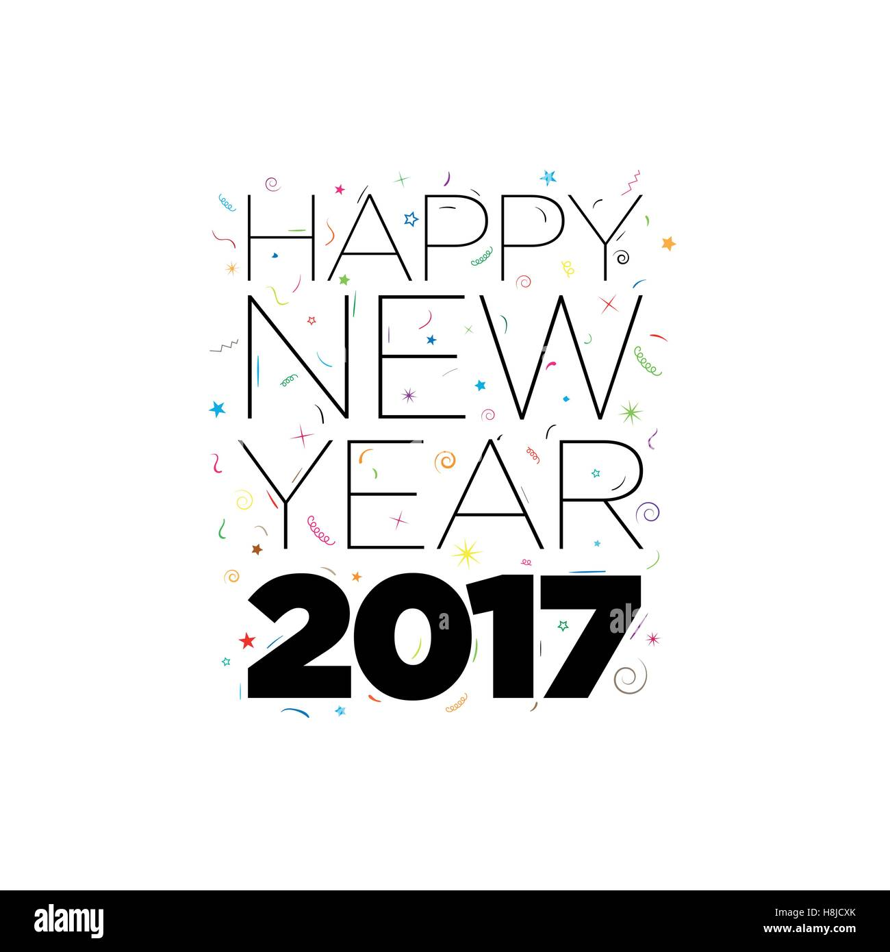 Black Happy New Year 2017 text with confetti elements on white background. Vector typographic design. - Stock Image