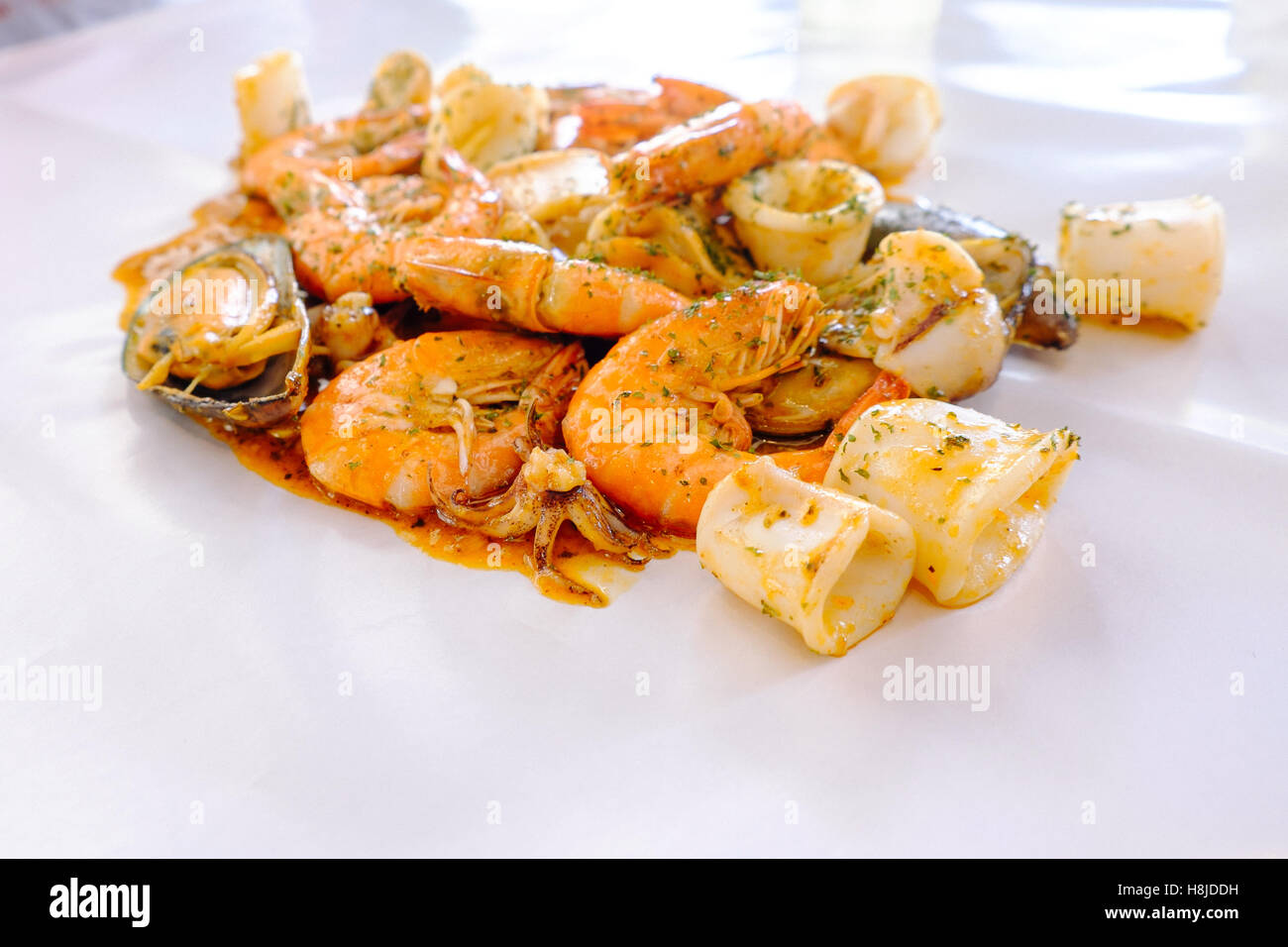 seafood, fresh, food, sea, lobster, oysters, background, octopus, shellfish, menu, fish, lemon, overhead, steamed, - Stock Image