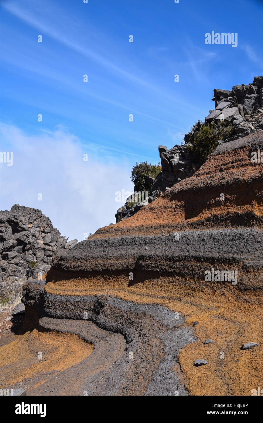 Geological colours of rock formations at Pico de Arieiro, Madeira - Stock Image