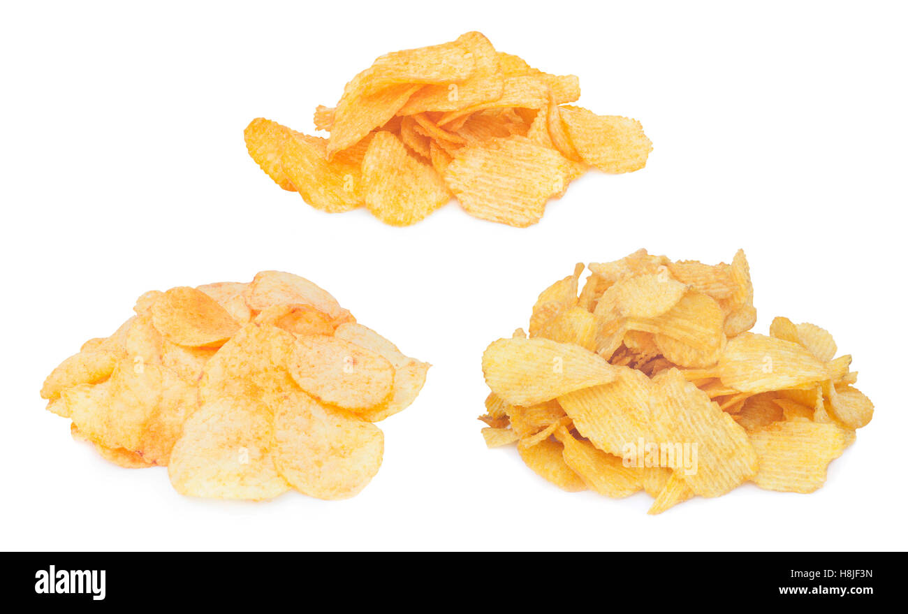 pile of potato chips isolated - Stock Image