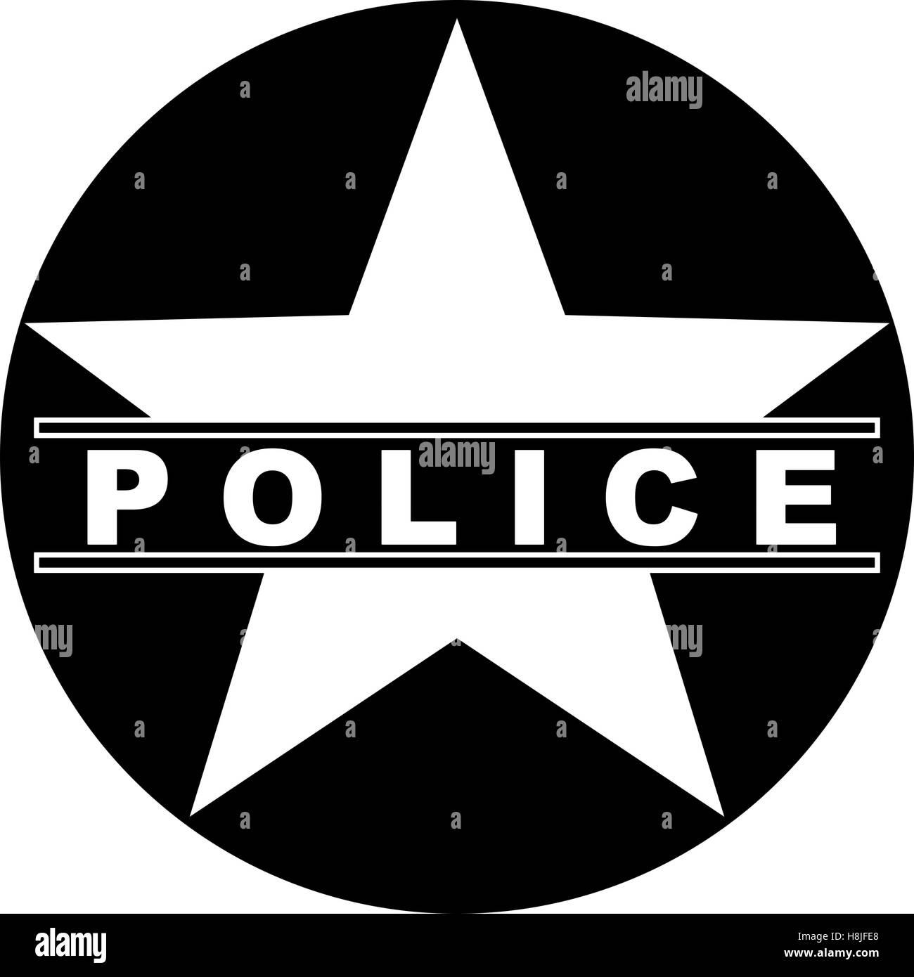Black And White Police Star Symbol Text Stock Photo 125797120 Alamy