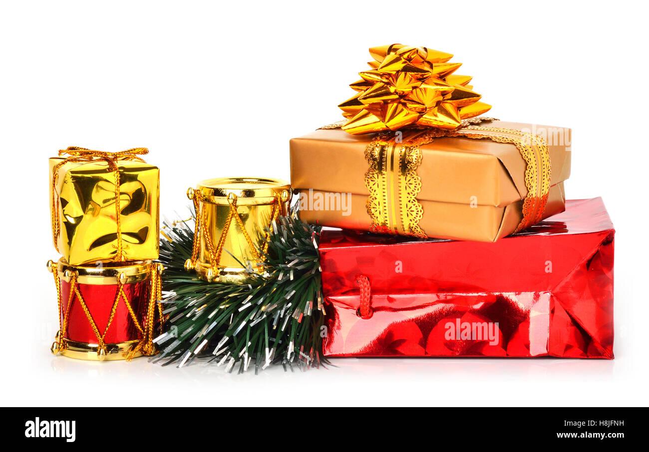 Christmas toys decoration isolated on white Stock Photo