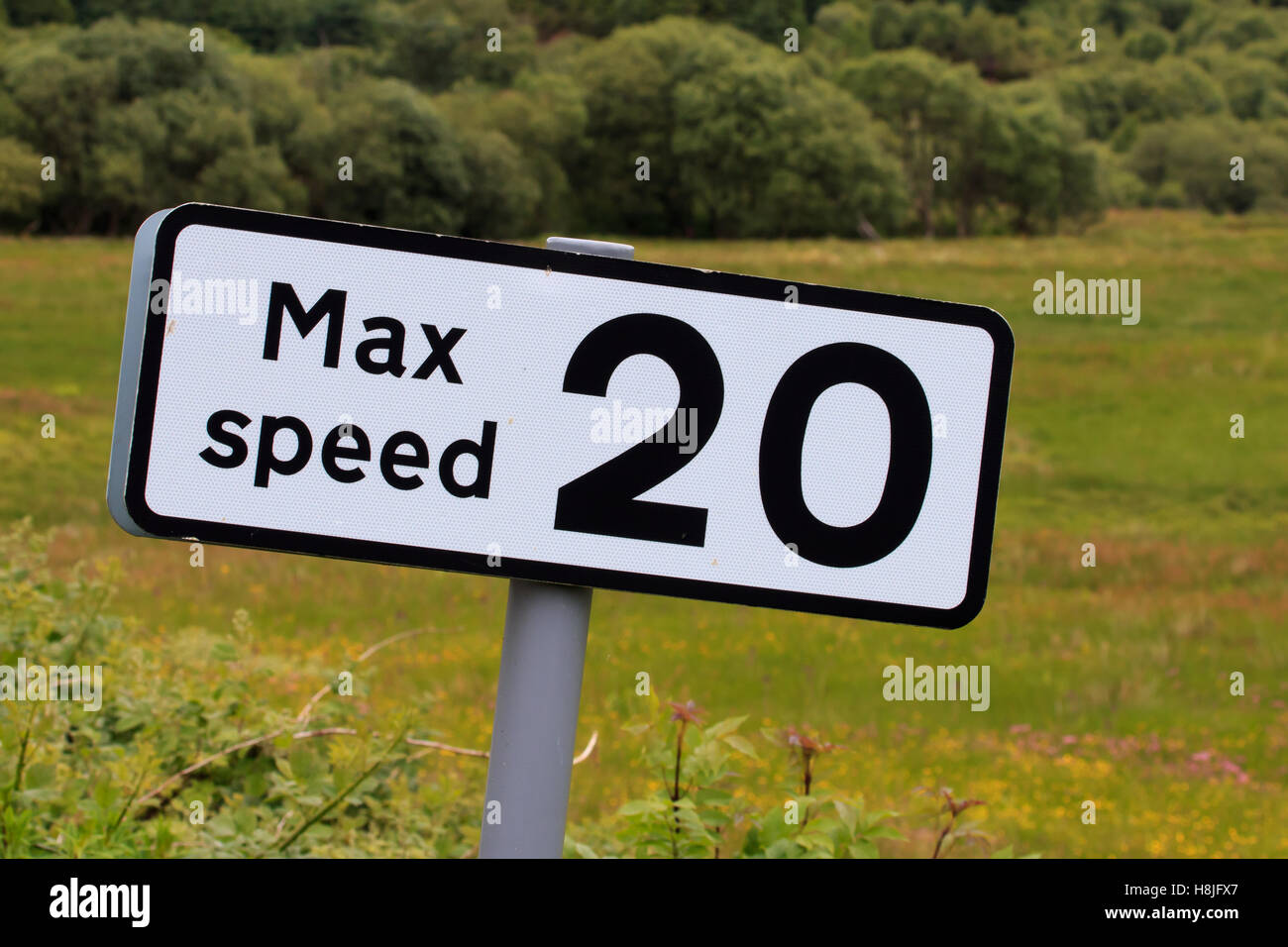 Road sign advising Max speed 20 MPH - Stock Image