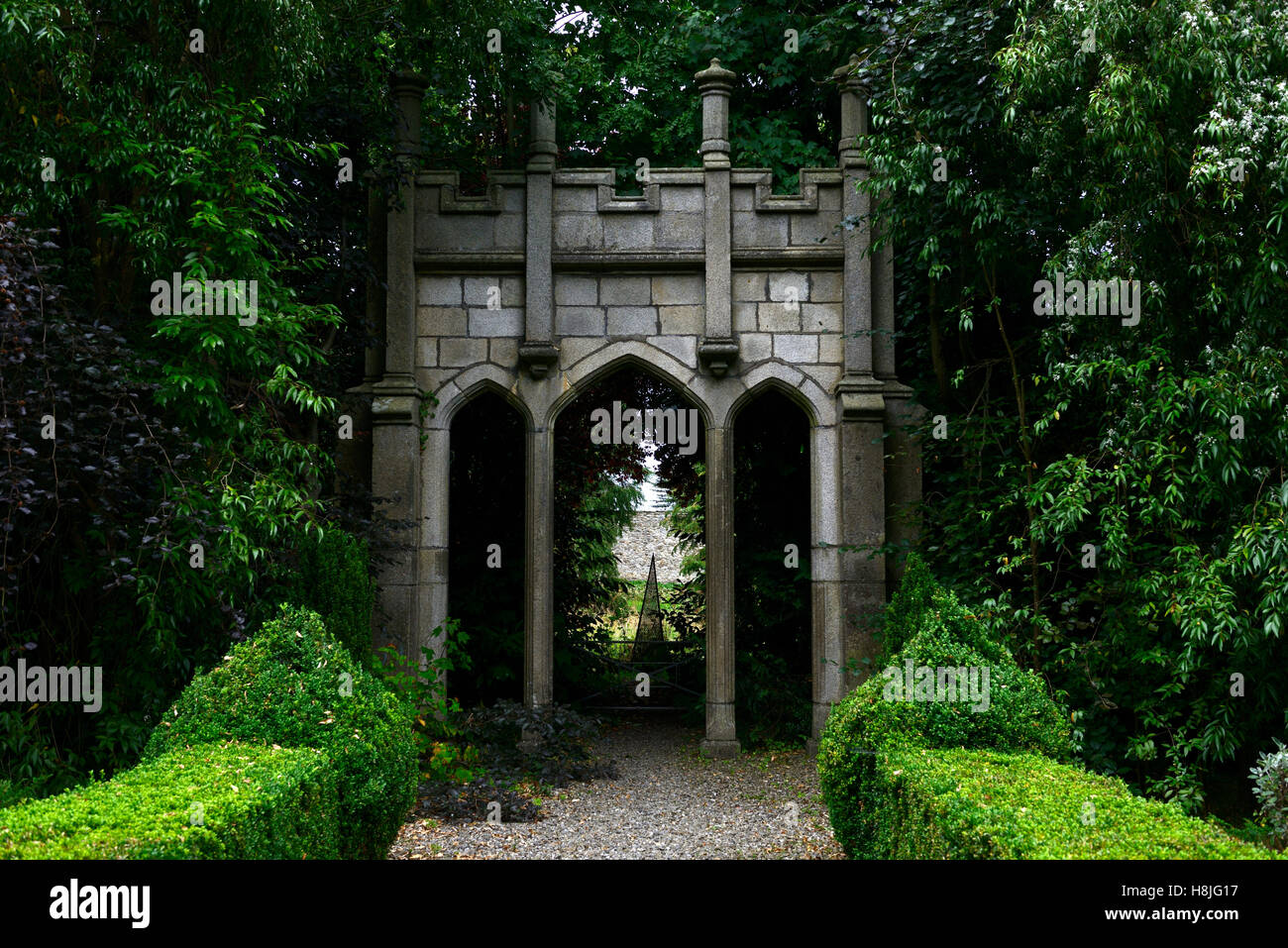 Stone Castellated Gate Architectural Folly Follies Gothic Garden Design  Formal Corke Lodge Bray Wicklow Ireland RM Floral