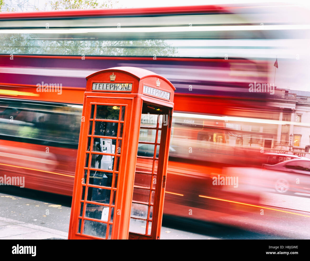 Traditional UK red telephone box. Stock Photo