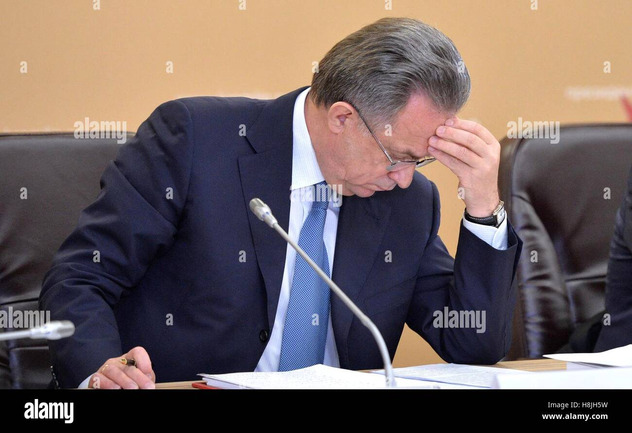 Russian Minister of Sport Vitaly Mutko at the meeting of the Council for the Development of Physical Culture and - Stock Image