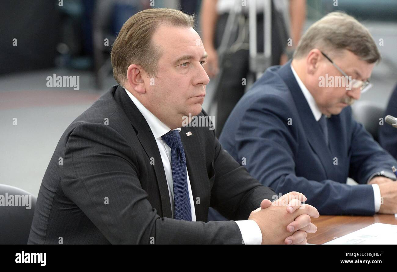 President of the United Shipbuilding Company Alexei Rakhmanov before the State Council Presidium meeting on developing - Stock Image