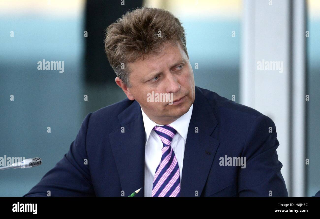 Russian Transport Minister Maxim Sokolov before the State Council Presidium meeting on developing internal waterways - Stock Image