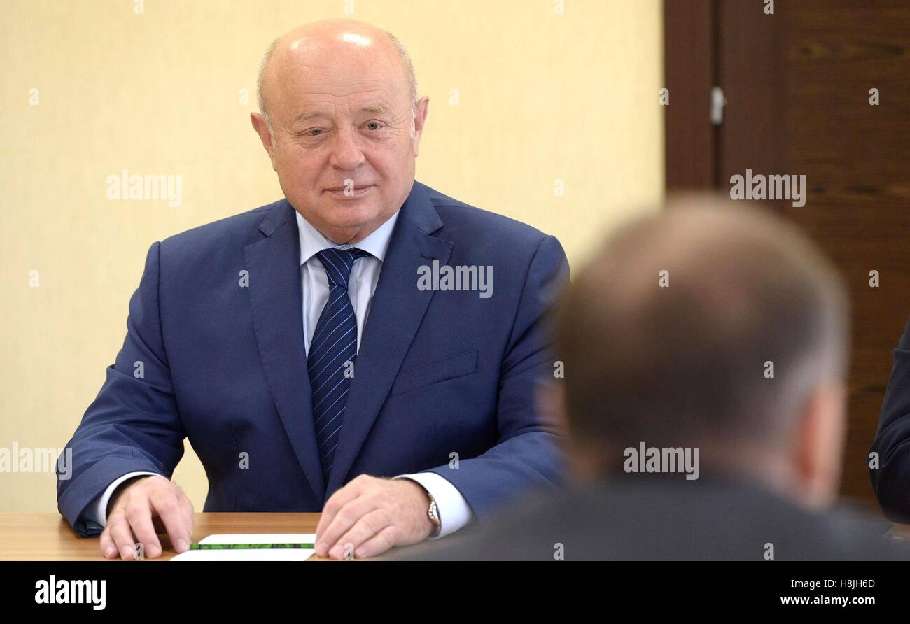 Russian Director of the Foreign Intelligence Service Mikhail Fradkov before a meeting with permanent members of - Stock Image