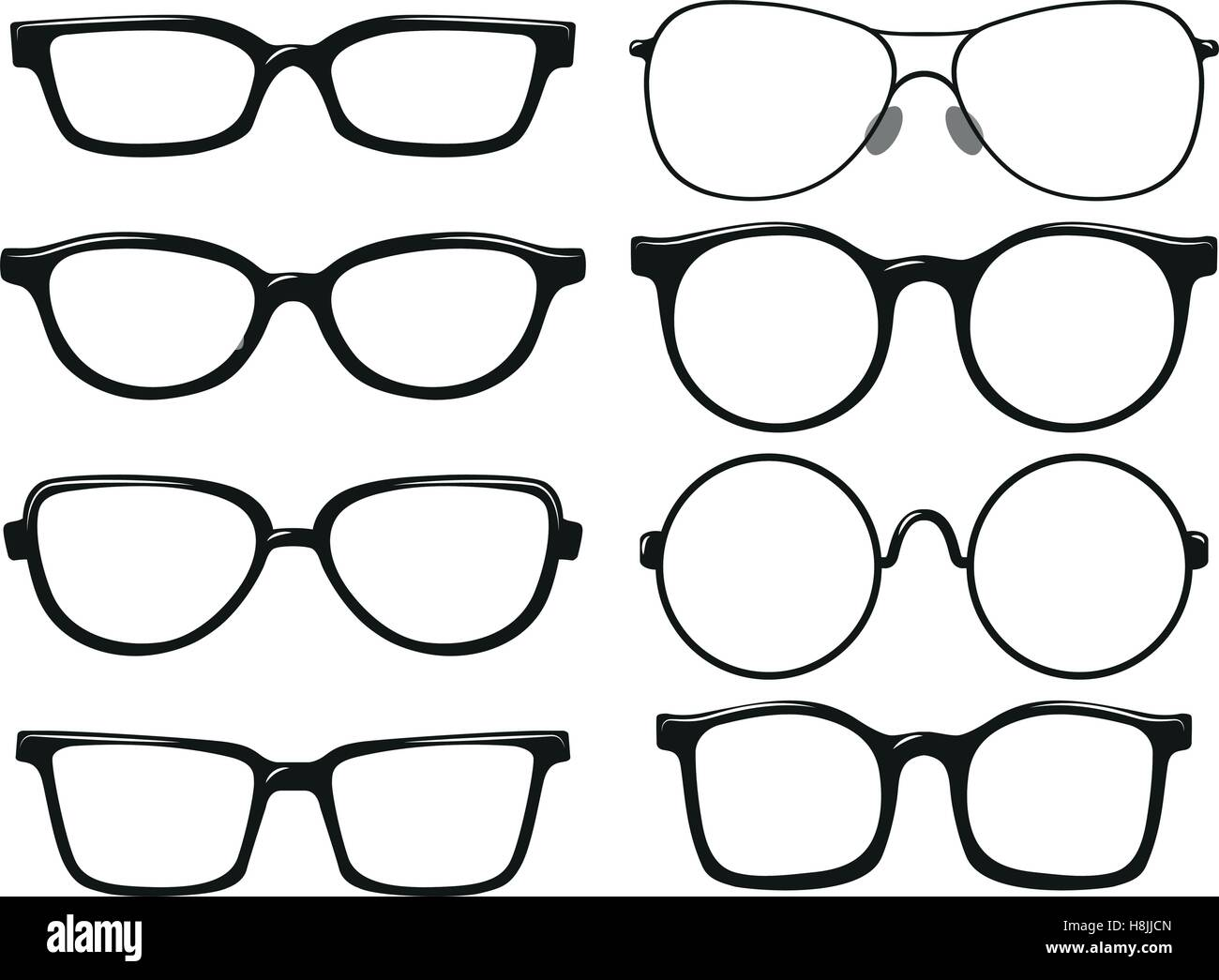Different design of eyeglasses frames illustration Stock Vector Art ...