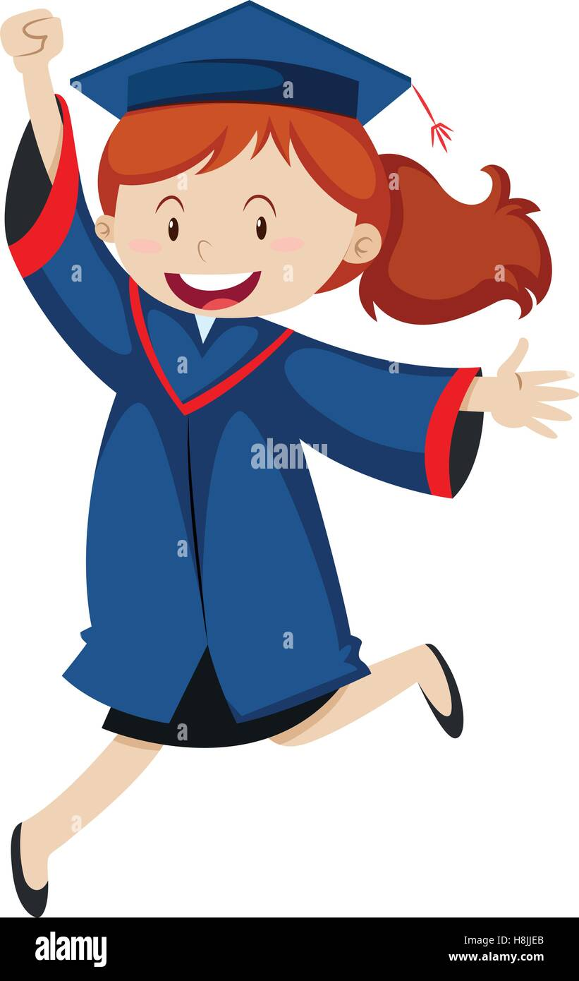 Woman in blue graduation gown illustration Stock Vector Art ...
