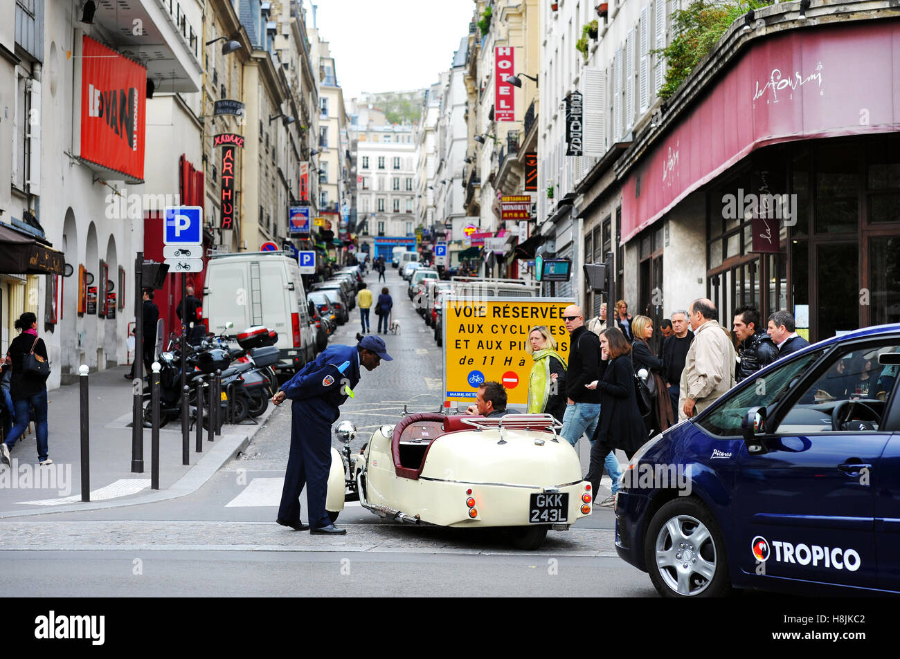 Rue des Martyrs turned in pedestrian street on sundays, Paris 18 th, France - Stock Image