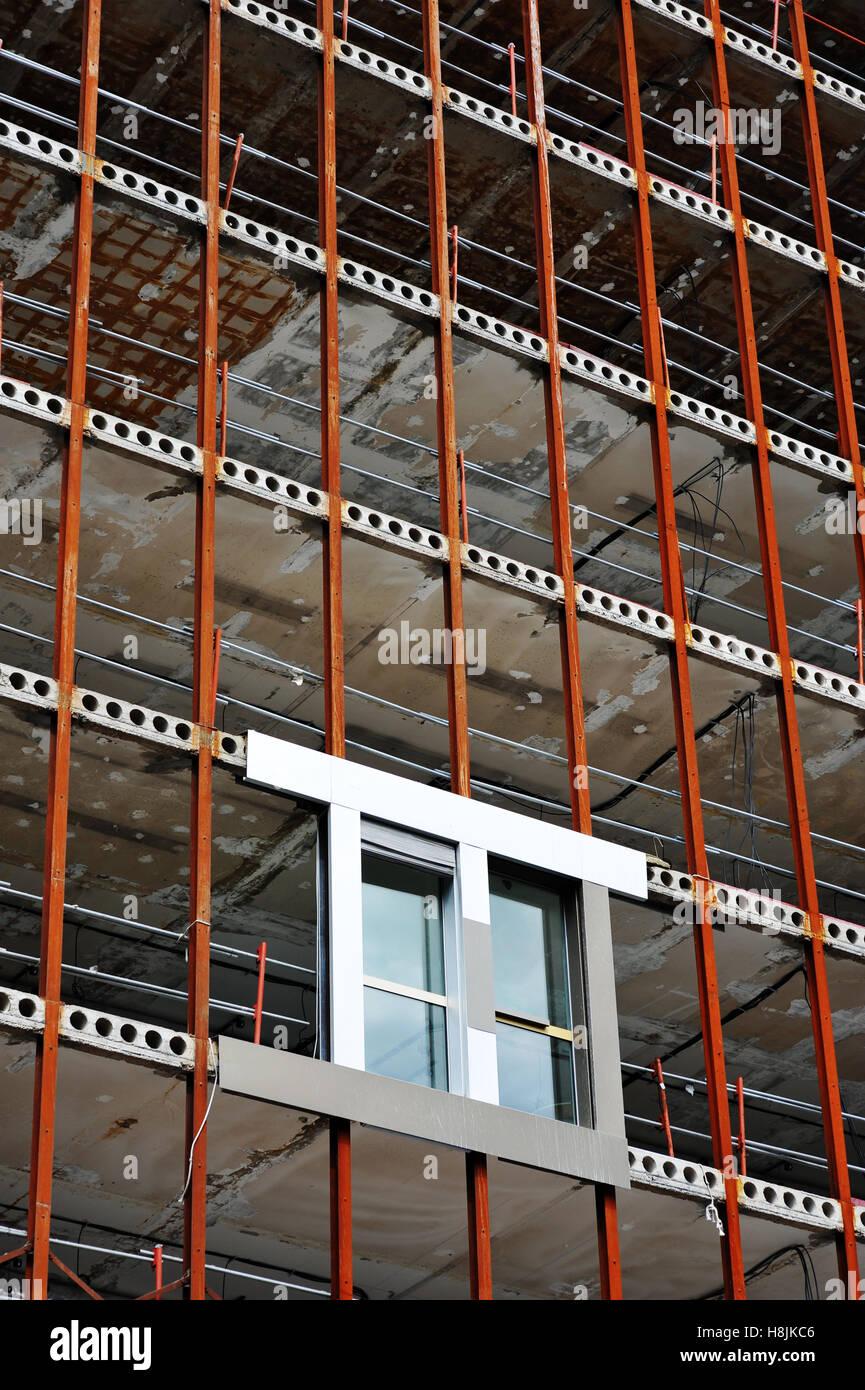 Frontage element test on a refurbished building, Paris, France - Stock Image