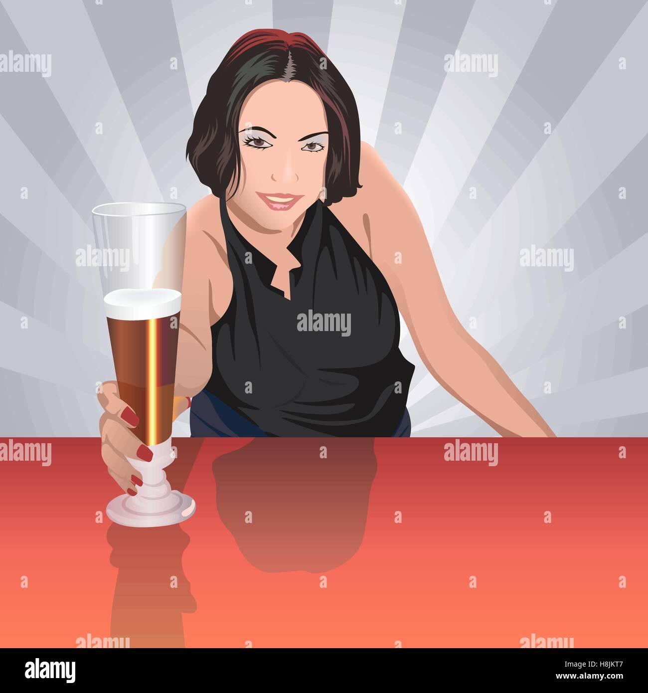 Pretty Barmaid - Stock Vector